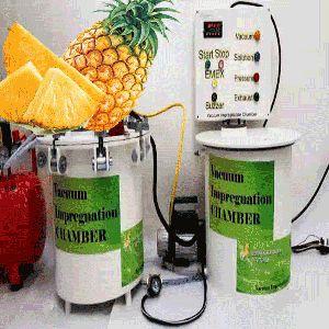 Vacuum Impregnation to modify physico chemical properties and sensory attributes of pineapple (slices 1 cm thickness)